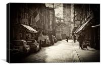 London Cobbled Street, Canvas Print