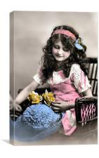 Girl with Roses and Hat, Canvas Print