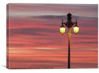 Brighton streetlight sunset, Canvas Print