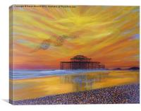 West Pier Sunset, Canvas Print