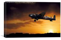 Avro Lancaster Bomber at dawn, Canvas Print