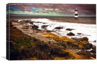 Trwyn Du Lighthouse, East Anglesey Coast, Canvas Print
