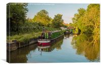 Canal boats on the River Lea Harlow , Canvas Print