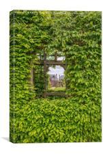 Arundel Castle , through the garden window, Canvas Print