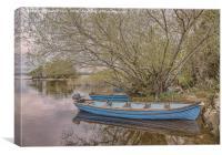 Blue Boats at Lough Leane Killarney, Canvas Print