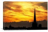 Norwich fiery sky, Canvas Print