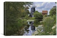 Norton Marsh Mill, Norfolk, Canvas Print