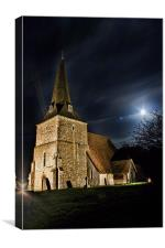 St Mary Sevington By Night, Canvas Print