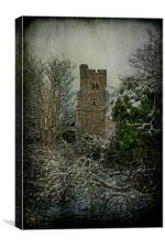 Church Through The Frozen Hedge, Canvas Print
