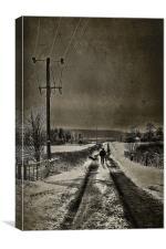 Dog Walking In Winter, Canvas Print