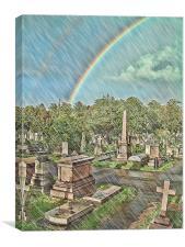Rain In The Cemetery, Canvas Print