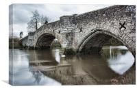 Aylesford Bridge In Flood, Canvas Print