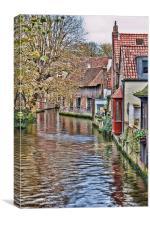 Waterway in Brugge, Canvas Print