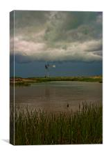Windpump In The Storm, Canvas Print
