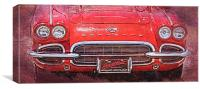 Vintage Red Vette, Canvas Print