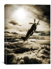 Spitfire fighter sepia, Canvas Print