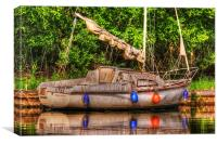 Abandoned Boat - Norfolk Broads, Canvas Print