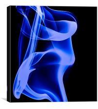 Blue smoke Macro Art, Canvas Print