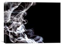 White Smoke Swirls, Canvas Print