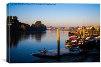 Dawn sculler on the Thames, Canvas Print