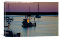 Fishing boat catches the last rays, Canvas Print