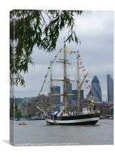 Tall Ship on the River Thames, Canvas Print