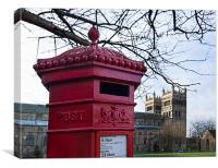 Durham Cathedral Red Post Box, Canvas Print