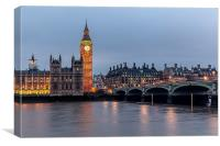 Westminster London by Night, Canvas Print
