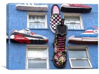 Boots and Trainers on a Blue Wall, Canvas Print