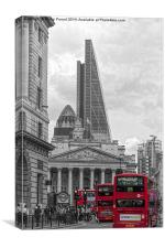 City of London Rush Hour - Red Buses, Canvas Print