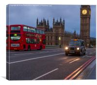 London Bus and Taxi with Big Ben, Canvas Print