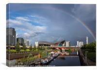 Rainbow over the Aquatic Centre in London's East E, Canvas Print