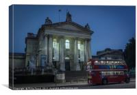 London Red Bus at Tate Britain Art Museum at Night, Canvas Print