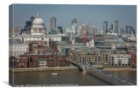 St Paul's Cathedral and the Wobbly Bridge in Londo, Canvas Print
