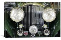 Headlight and badges on vintage Bentley, Canvas Print