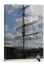 Reflections of tall ship, Canvas Print