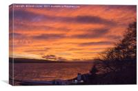 Setting sun over Beauly Firth, Canvas Print