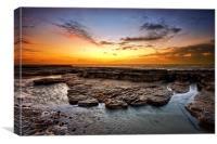 Sunrise on Bexhill beach, Canvas Print