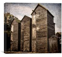 Fishermens Huts at Hastings, Canvas Print