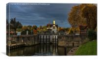 Goring Lock in Autumn, Canvas Print
