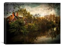 Kennet and Avon near Theale , Canvas Print