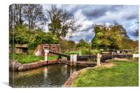 Garston Lock On The Kennet Navigation, Canvas Print