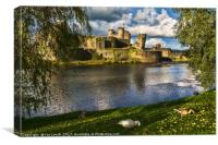 Late Afternoon At Caerphilly Castle, Canvas Print