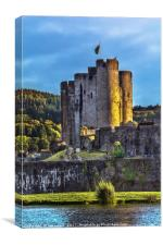 Towers Of Caerphilly Castle Gatehouse, Canvas Print