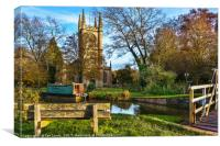 The Church By The Canal at Hungerford, Canvas Print