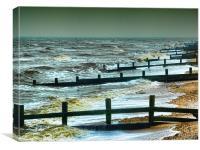Leysdown on Sea in Winter, Canvas Print