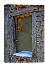 Rusty Lamp and a Snowy Ledge, Canvas Print