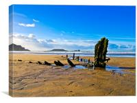 Helvetica Wreck, Rhossili Bay, Canvas Print