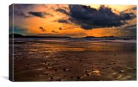 Sunset over Rhossili Bay, Gower, Canvas Print