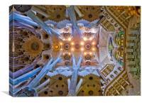 Ceiling found in La Sagrada Familla, Barcelona, Canvas Print